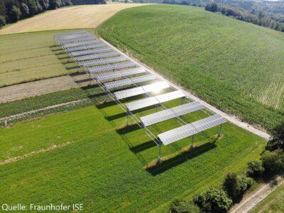 Das Bild zeigt gesonderte Photovoltaikmodule auf einer Grünfläche