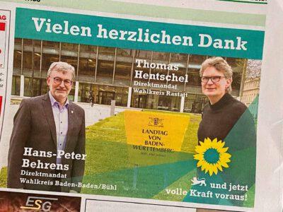 Dankesanzeige von Thomas Hentschel und Hans-Peter Behrens im BT