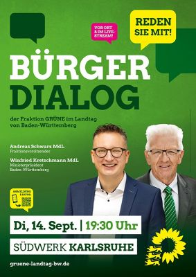 Plakat für den Bürgerdialog am 14. September um 19:30 Uhr in Karlsruhe